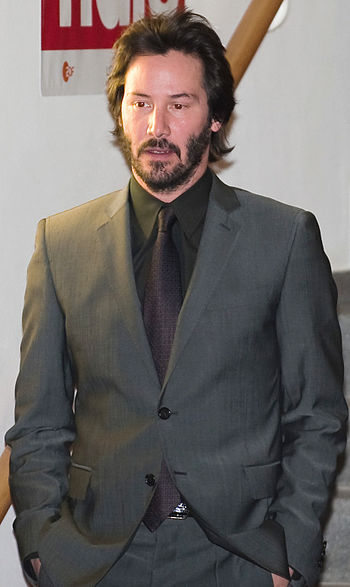 Keanu Reeves leaving the press conference for ...