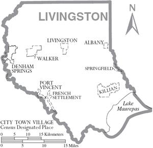 Map of Livingston Parish, Louisiana, United St...