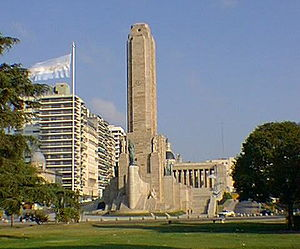 The monument and flag