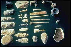 A selection of prehistoric stone tools.