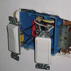House Electrical Wiring Diagram In India Tecumseh Light Switch Wikipedia Two Lutron Decorator Style Rocker Switches And Often Called Decora After The Trademarked Leviton As Installed United