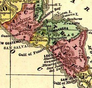 Crop of Image:CentralAmerica1860Map.jpg, scann...