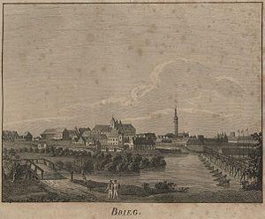 English: View of Brieg in Lower Silesia Deutsc...