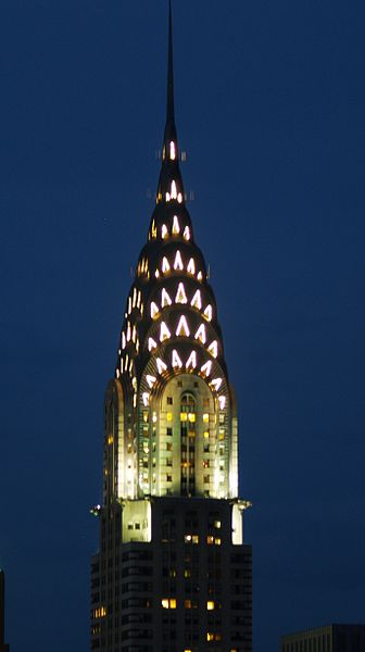 The Chrysler Building in New York City illuminated at night.