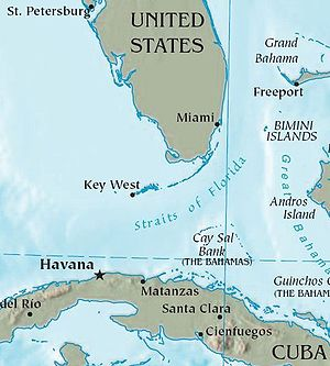 Cuba is 90 miles (145 kilometres) south of Flo...