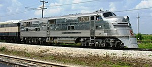 Preserved EMD E5 at Illinois Railway Museum Photo by Sean Lamb (User:Slambo), July 18 2004 Category:Chicago, Burlington and Quincy Railroad images
