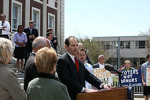 New York State Governor Eliot Spitzer held a n...