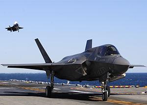 English: A F-35B Lighting II maneuvers after a...