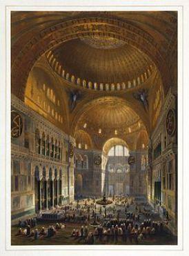 Gaspare Fossati - Louis Haghe - Vue générale de la grande nef, en regardant l'occident (Hagia Sophia - Ayasofya Mosque nave)