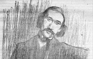 André Gide: pencil drawing