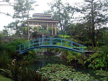Bridge in landscaped grounds of Houmas House P...