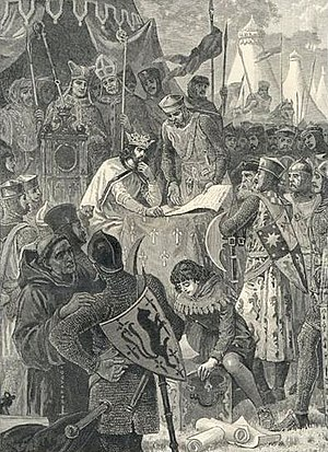 John of England signs Magna Carta. Image from ...