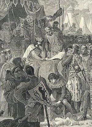 English: John of England signs Magna Carta. Im...