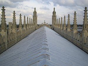 Sloping roof of King's College Chapel, Cambrid...
