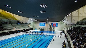 The London Aquatics Centre during its unveilin...