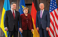 Merkel with Petro Poroshenko and Joe Biden, 7 February 2015