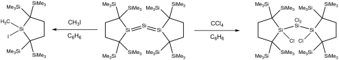 small resolution of reaction of trisilaallene with haloalkane png