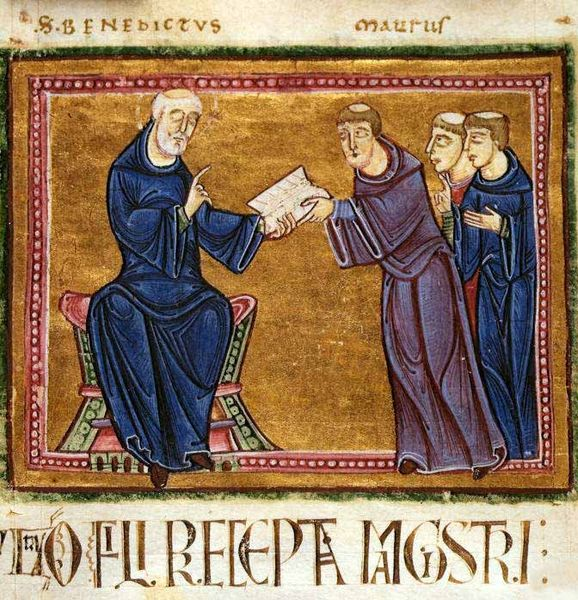 Plik:St. Benedict delivering his rule to the monks of his order.jpg