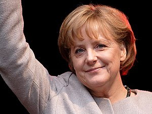 This image shows Angela Merkel who is the Chan...