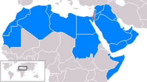 Arab League states and Israel map.