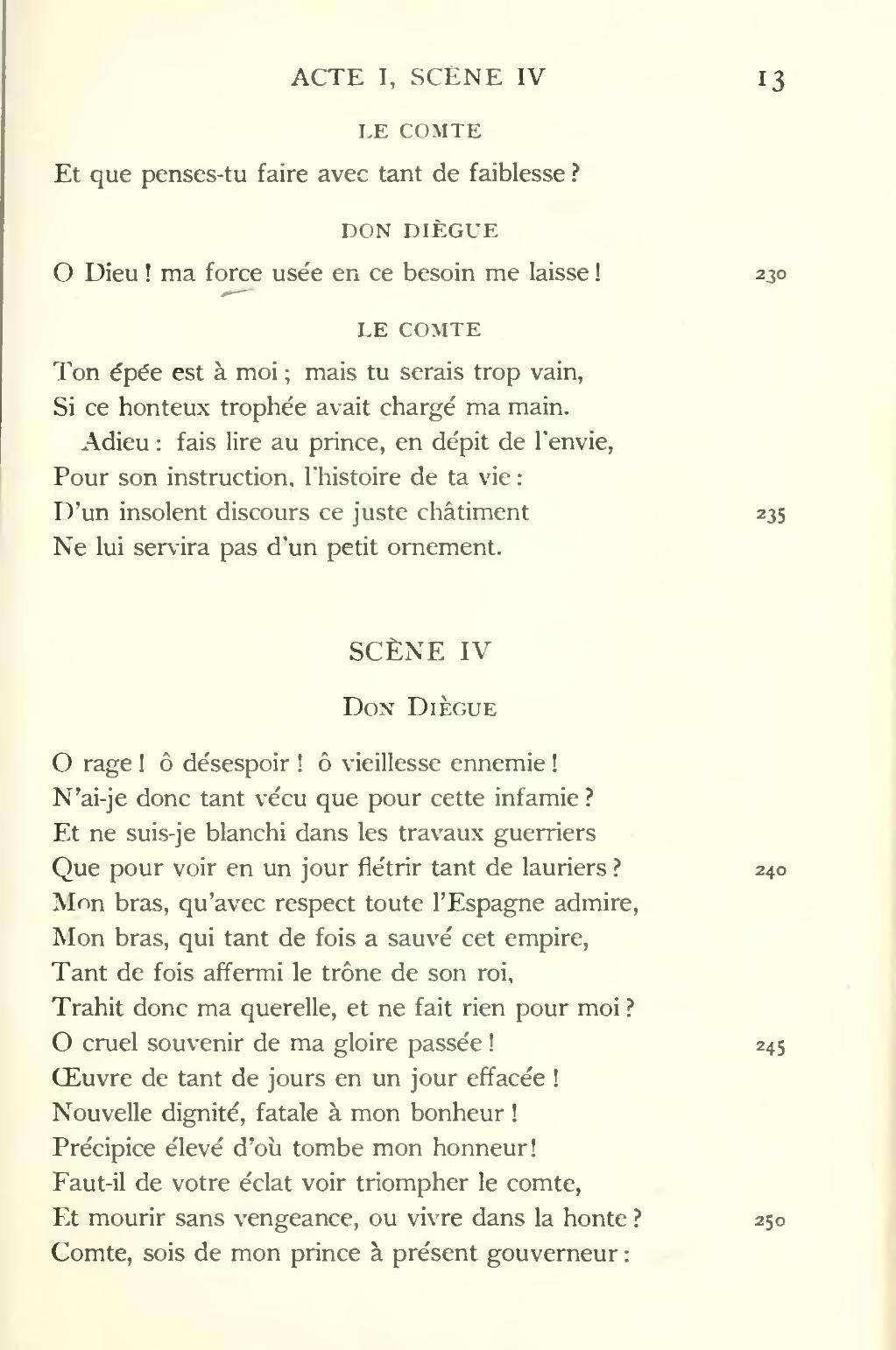 Le Cid Acte 3 Scene 4 : scene, Devoir:, Commentaire, Compose, Scene
