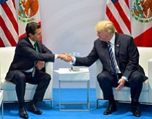 Peña Nieto meets with Donald Trump at the G20 Hamburg summit, July 2017
