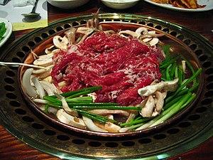 Bulgogi, a Korean dish