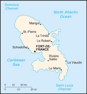 A map of Martinique