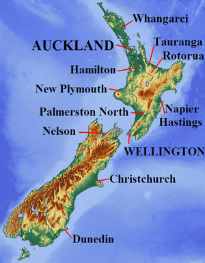English: Relief map of New Zealand