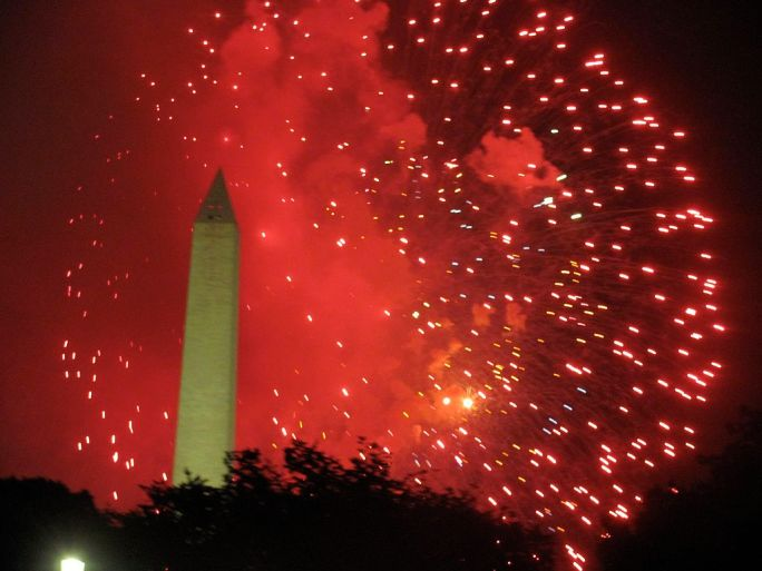 Obelisk and Fireworks of Fourth of July in Washington D.C