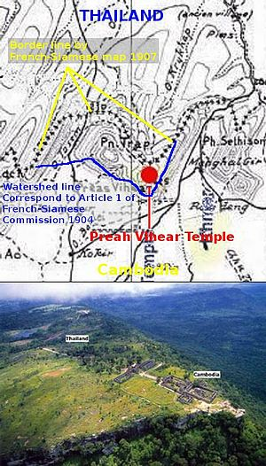 Prasat Preah Vihear and border lines on disput...
