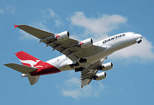 Qantas Airbus A380 (VH-OQA) takes off from Lon...