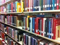 Shelves of Language Books in Library