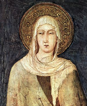 Simone Martini, fresco detail depicting Saint ...