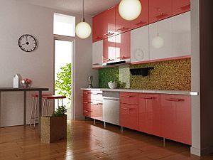 3D interior design of a kitchen