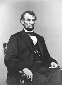Abraham Lincoln, wise people, wisdom of life, pearls of wisdom' three-quarter length portrait...