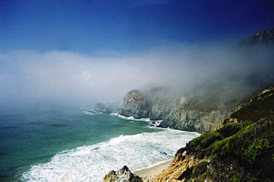 Big Sur and fog on a typical day in June. Phot...