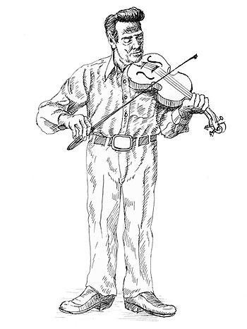 English: A pen drawing of a Cajun fiddler.