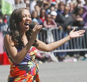 Miss America 2010 Caressa Cameron performing a...