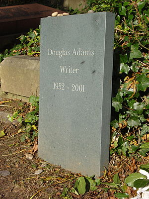 A photograph of the gravestone of Douglas Adam...