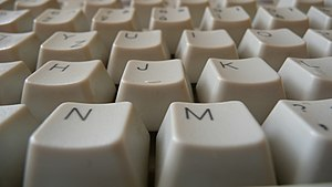 Computer keyboard, view from down