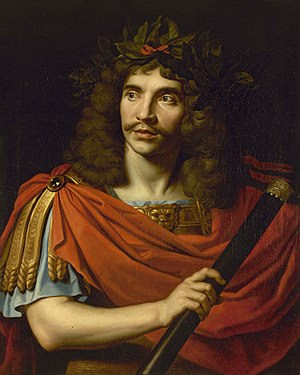 Molière in classical dress, by Nicolas Mignard...