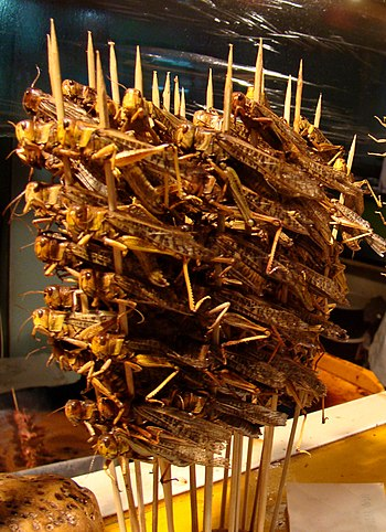 English: Skewered locusts to eat, in Donghuame...