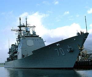 USS Lake Erie docked at Pearl Harbor, Hawaii.