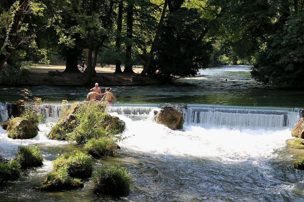 Filewasserfall Eisbach Schwabinger Bach Englischer Garten