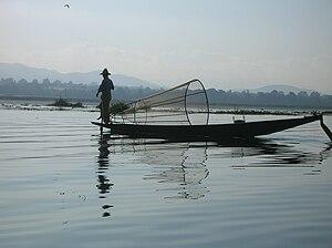 English: Fisherman on Inle Lake, Burma.