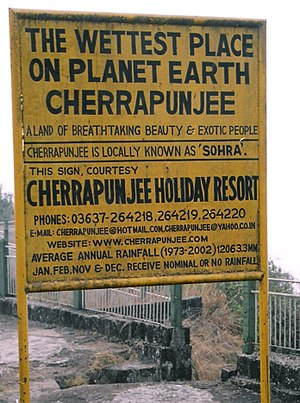 Highest Rainfall in the world in cherrapunjee