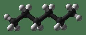 Molecuulmodel van hexaan.