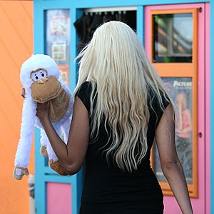 "Monkey and ""Blonde"" Woman"