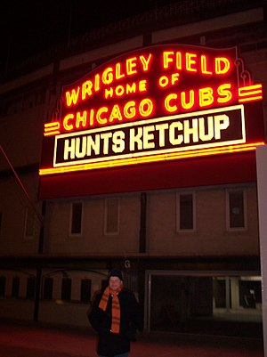The sign outside the Chicago baseball park Wri...